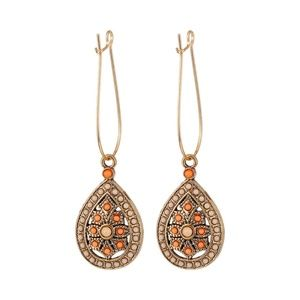 5 for $25 Orange & Cream Bead Decorated Earrings